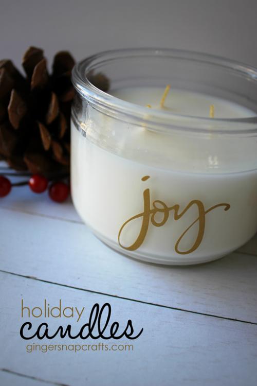Holiday Candles at GingerSnapCrafts.com #DIY #easygiftidea #vinyl #happycrafters_thumb