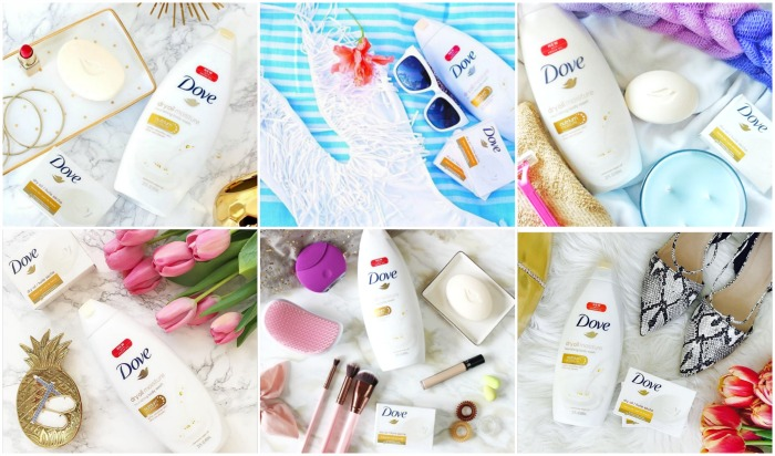 dove dry oil twitter party collage